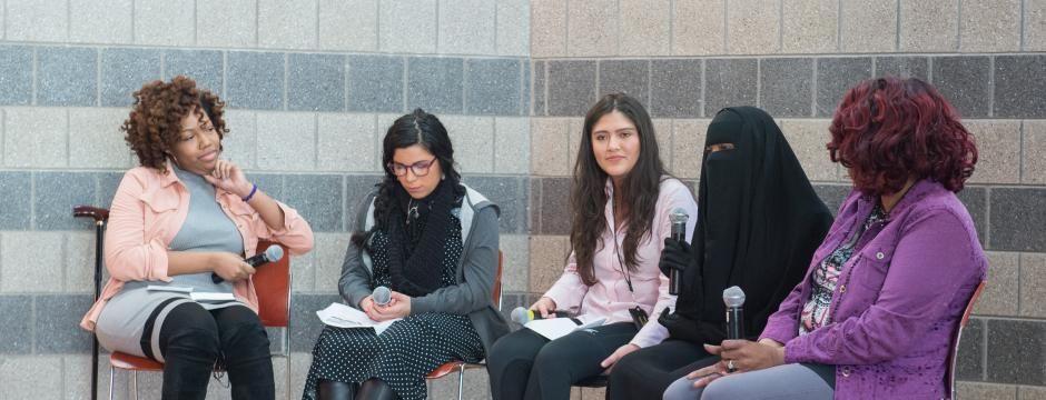 Religious studies student panel at Community College of Philadelphia.