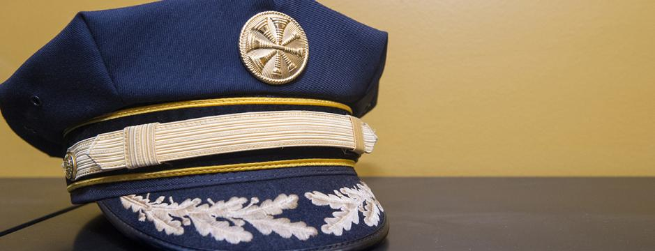 Captain's hat used in fire industry, taught at CCP.